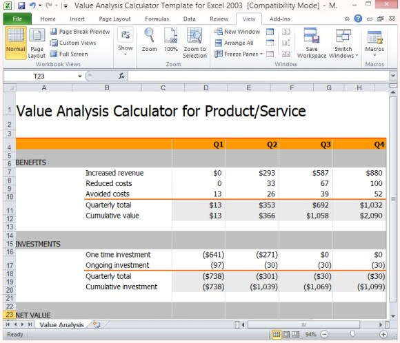 cost value analysis calculator benefit analysis template powerpoint
