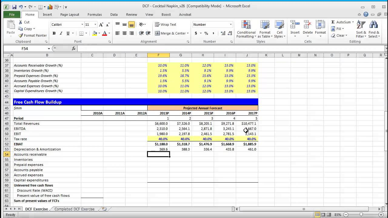 discounted cash flow spreadsheet template