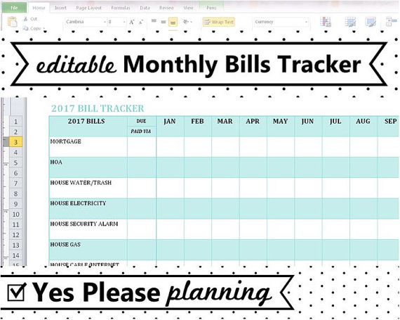 editable monthly bill tracker spreadsheet template free planning