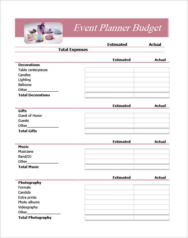 event planning budget worksheet template free documents