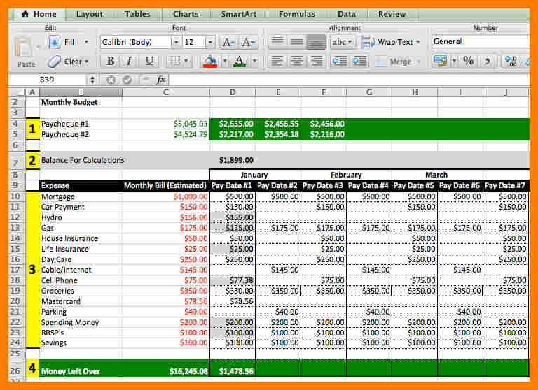 excel budget schedule template sample