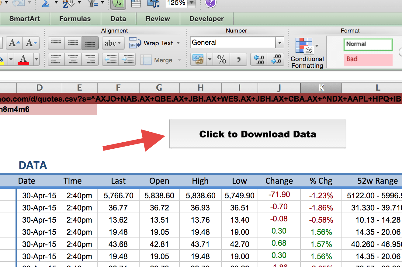 excel clout stock quotes download data