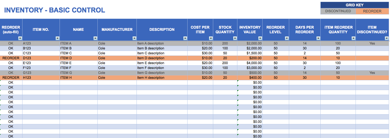 excel inventory basic control template with formulas