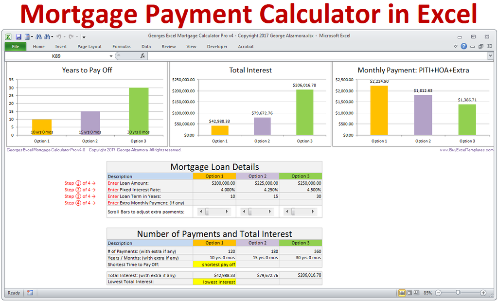 excel mortgage payment calculator amortization schedule spreadsheet