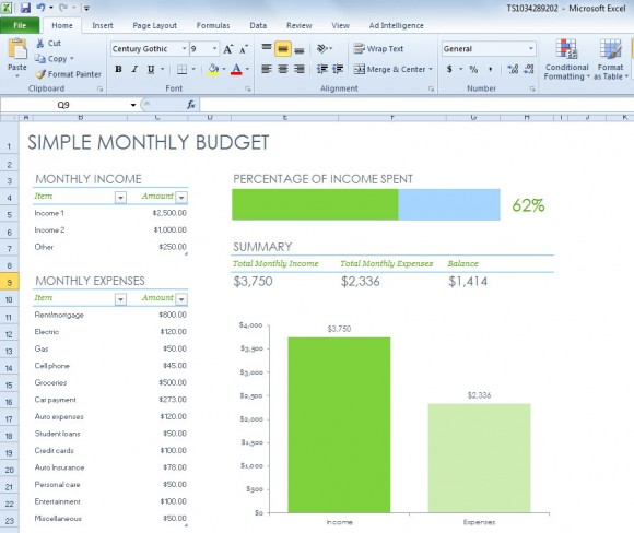 excel simple monthly budget template for household