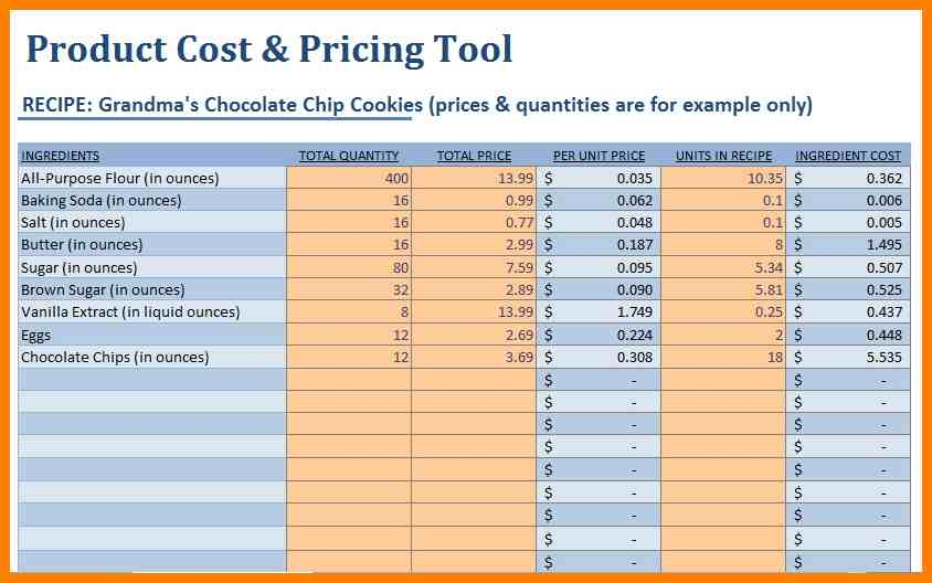 food cost spreadsheet