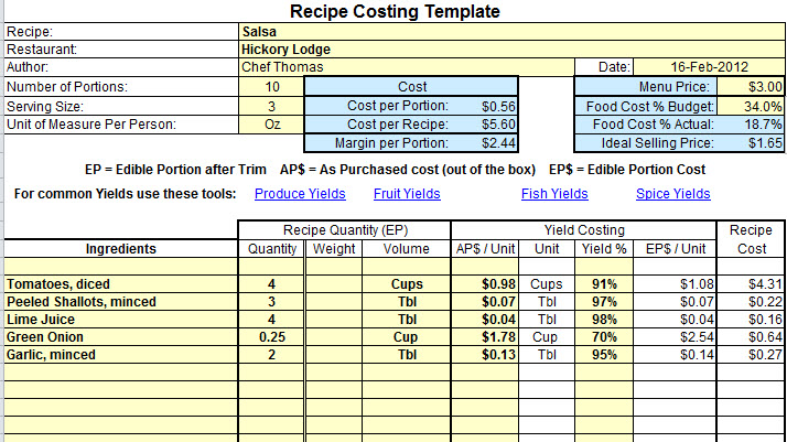 food cost inventory spreadsheet example