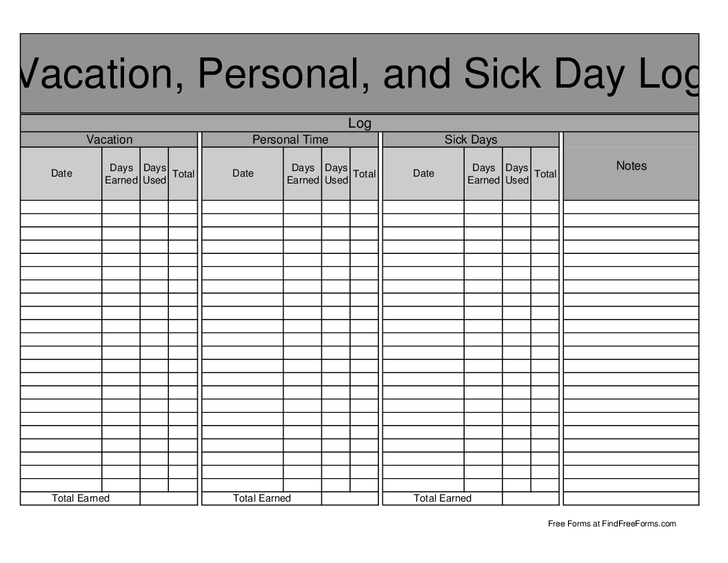 sick leave template excel