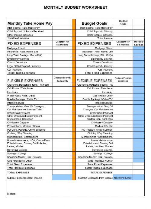 free basic monthly budget worksheet pdf