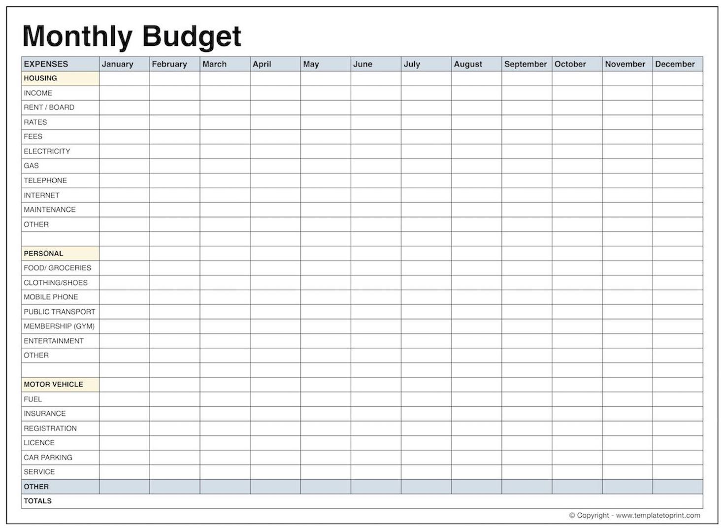 blank monthly budget template pdf samplebusinessresume com simple