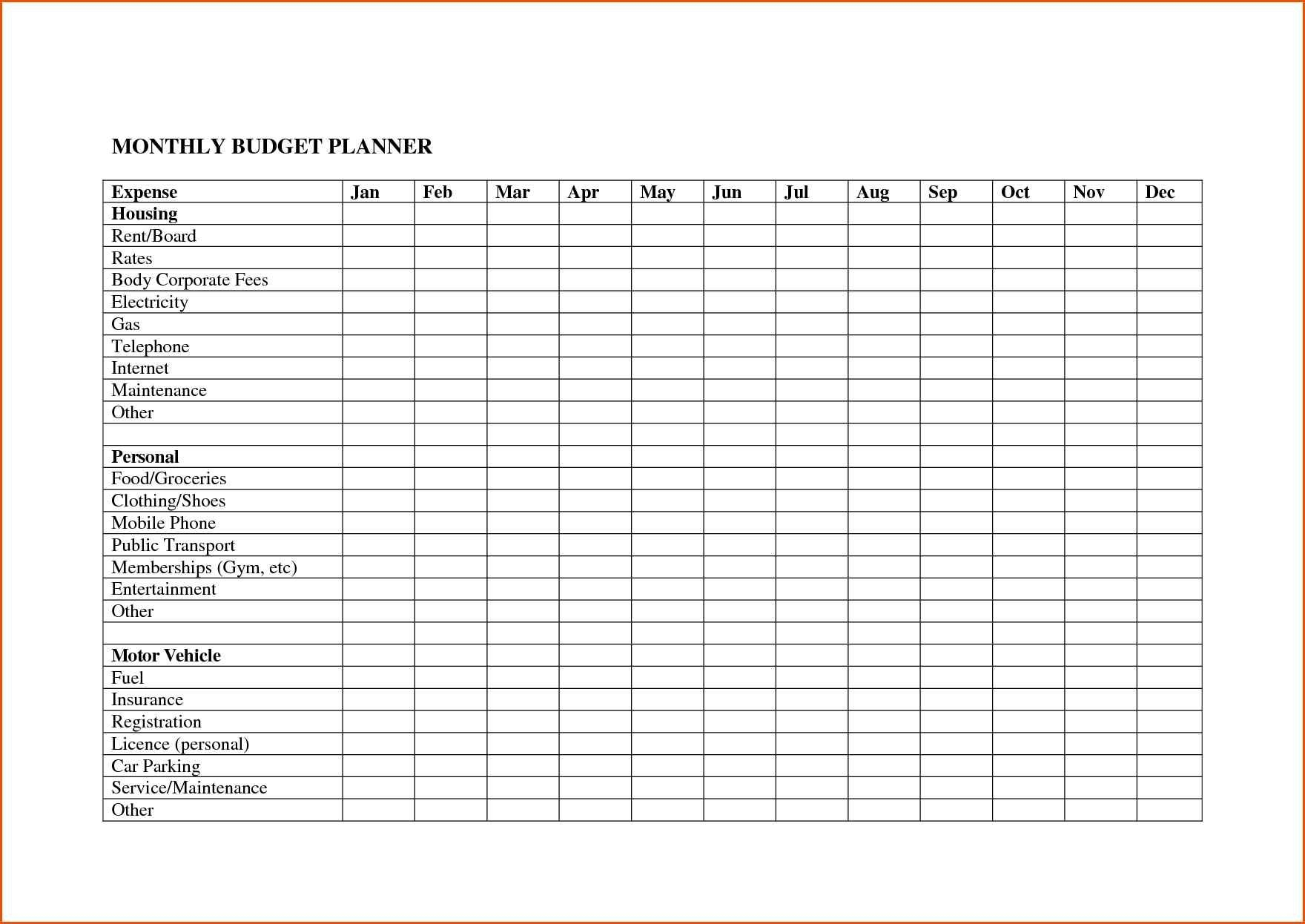 Monthly Bill Spreadsheet Template Free | Papillon-Northwan within Monthly Bill Spreadsheet Template Free