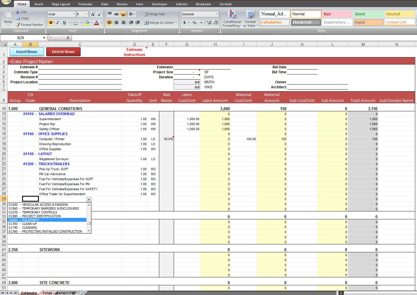 excel estimating spreadsheet koni polycode co