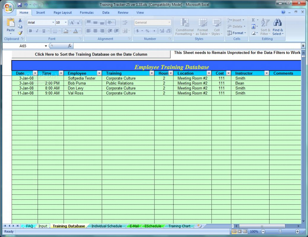 free employee training tracker excel spreadsheet