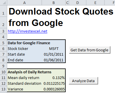 free excel stock quote spreadsheets Finance