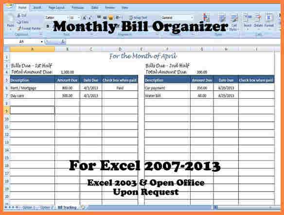 free monthly bill tracker budget spreadsheet