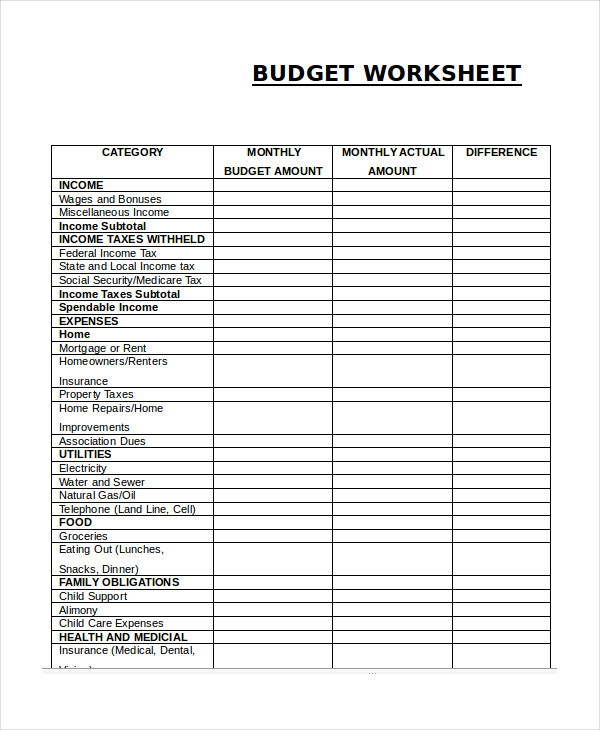 blank monthly expenses budget worksheet pdf