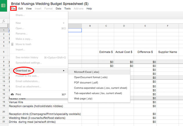 free printable wedding budget spreadsheet Bridal Musings