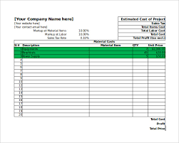 free project cost estimate template download