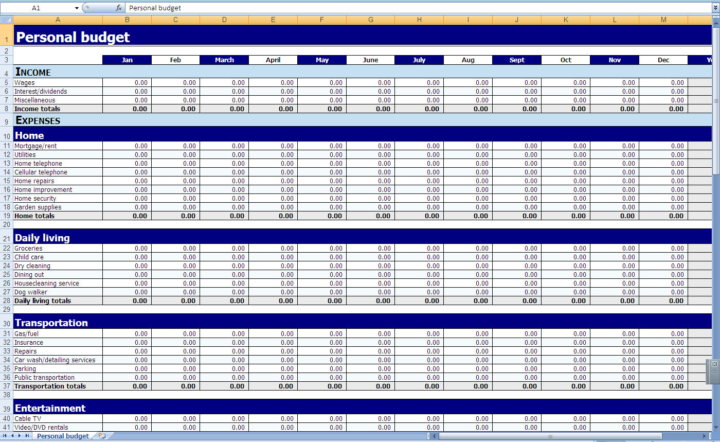 free sample monthly personal household budget worksheet excel