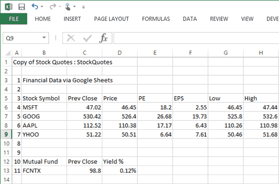 free stock quotes excel