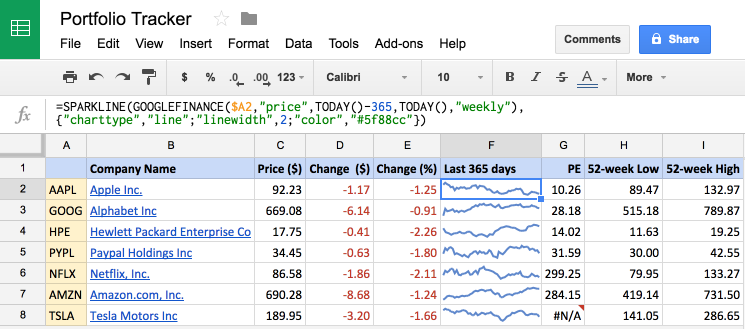 google portfolio tracker finance api example sheets
