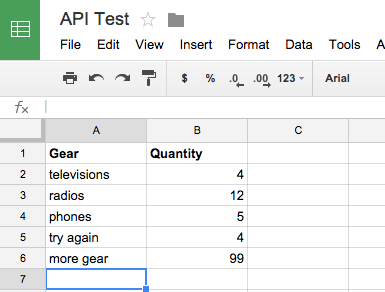 google sheets api test example