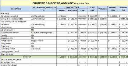 home construction estimating and budget spreadsheet