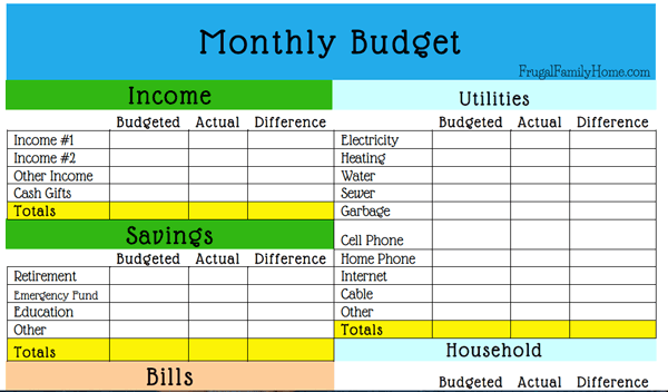 how creating a budget in excel template printable