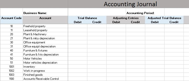 how to keep accounts in excel spreadsheet