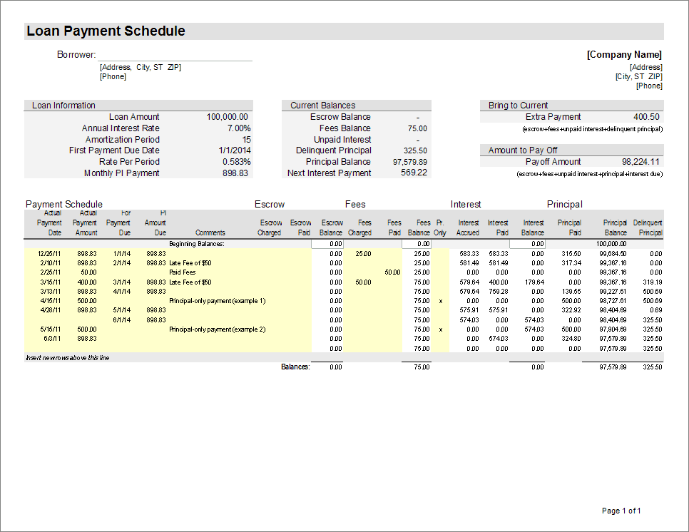 loan payment amortization schedule and calculator spreadsheet