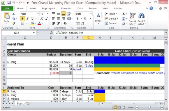 marketing plan template free download for excel