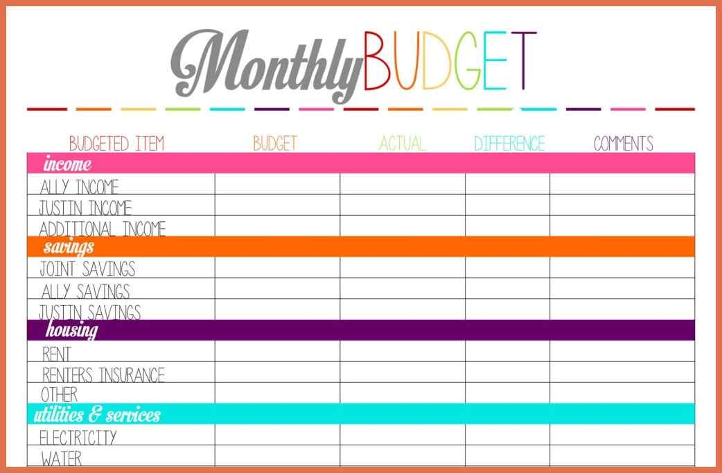 monthly bill simple budget template