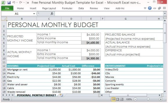 monthly budget expenses template free office 2013