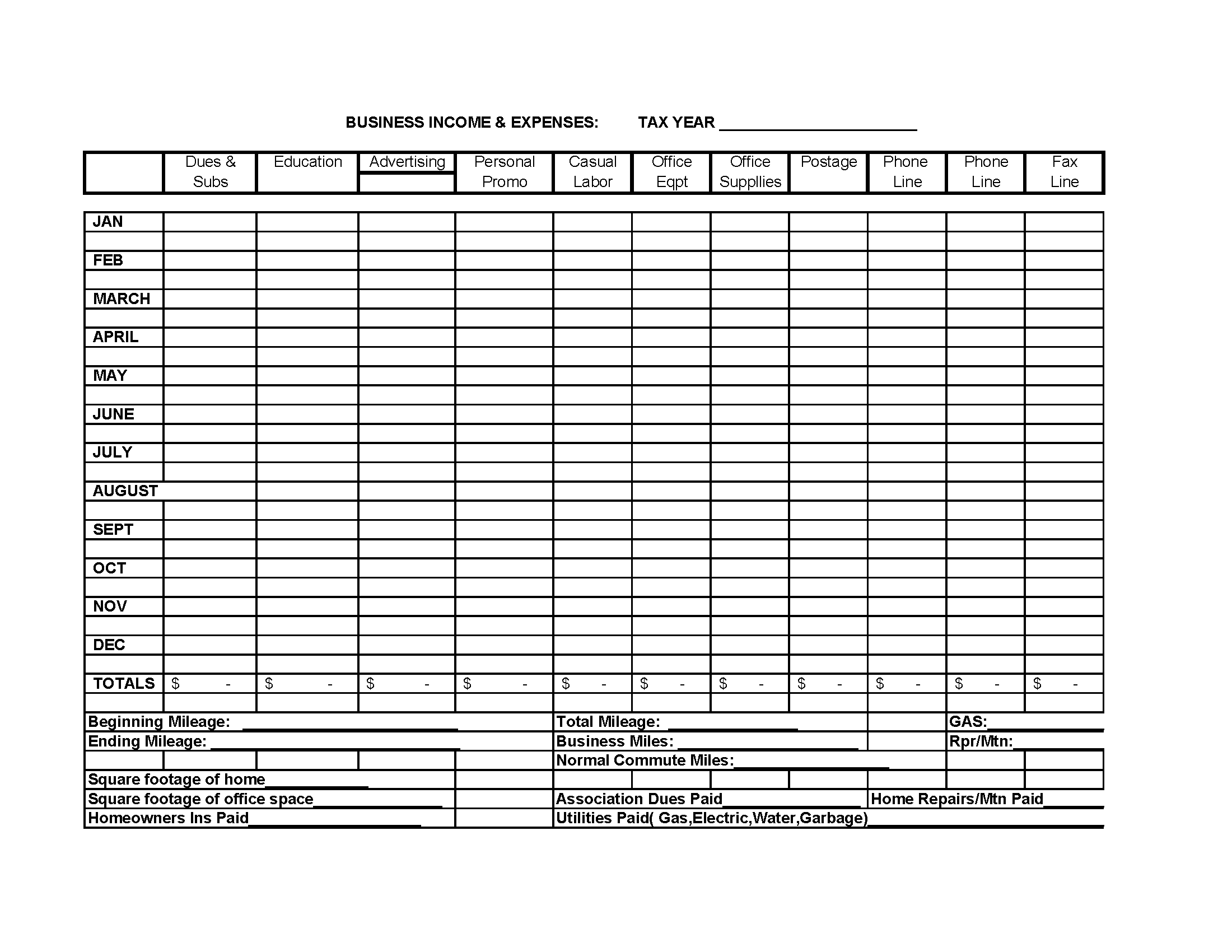 monthly business expense and income template - SampleBusinessResume ...