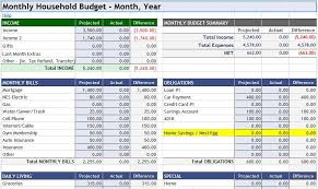 monthly household budget download