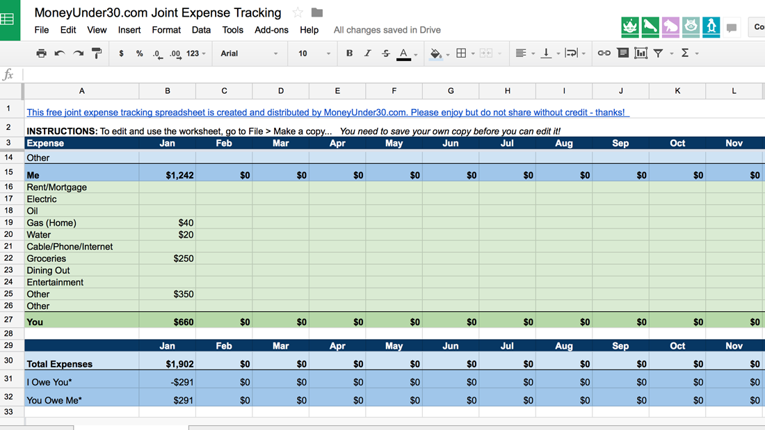 monthly money business expense template tracking