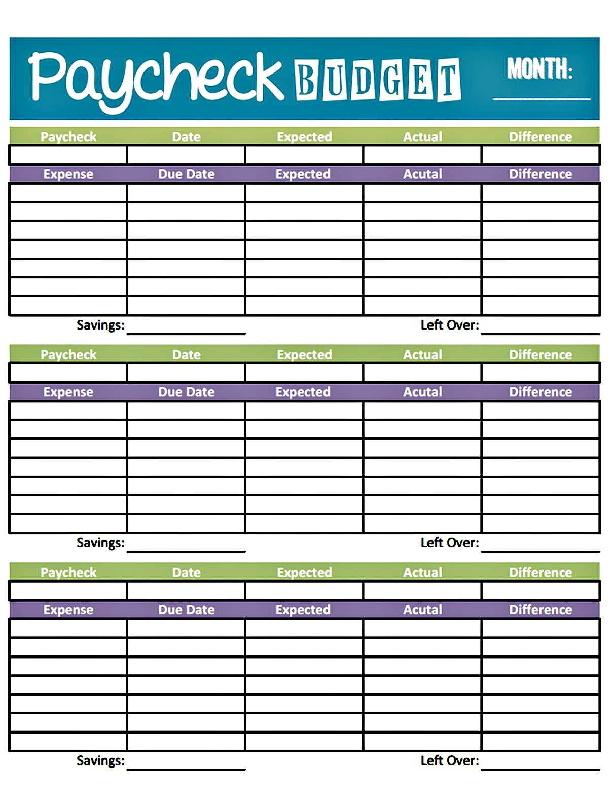 monthly paycheck budget worksheet excel