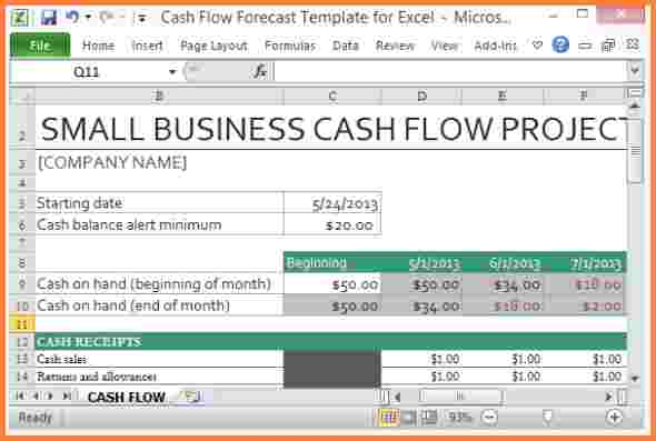 Monthly Small Business Cash Flow Statement Template