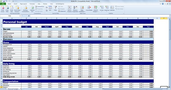 personal daily expense sheet excel template