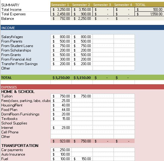 personal expenses excel