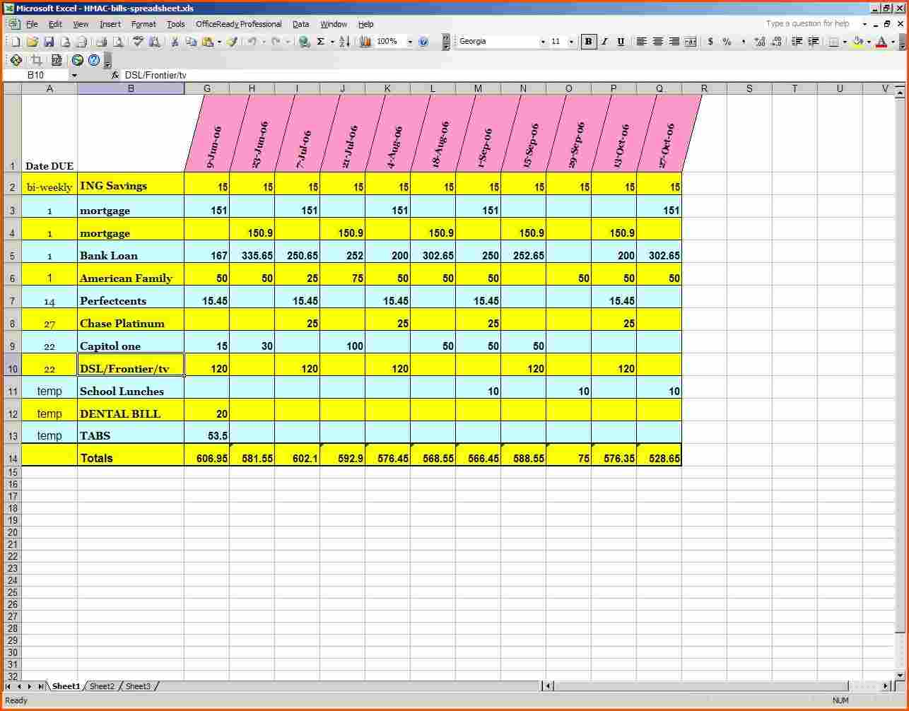 personal monthly bill budget template