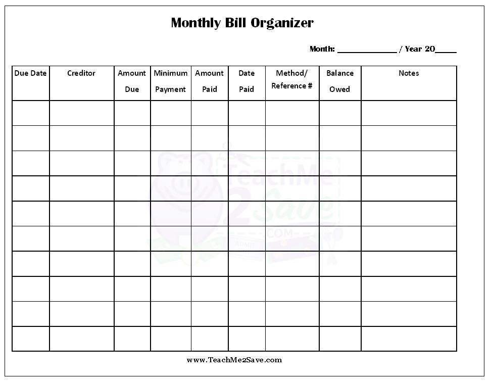 printable monthly bill organizer budget template