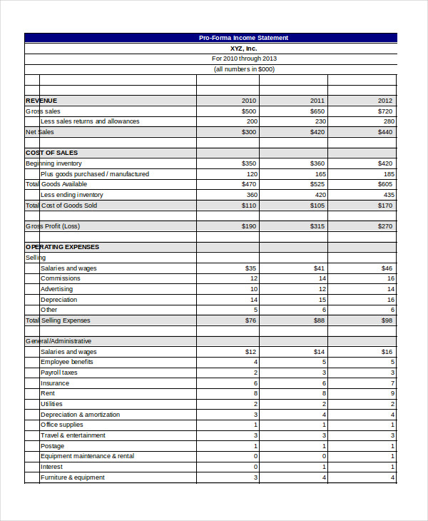 pro forma income statement template word