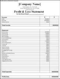profit loss statement template excel download