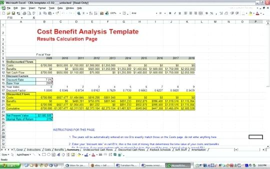 project cost summary template - project cost benefit analysis template free download