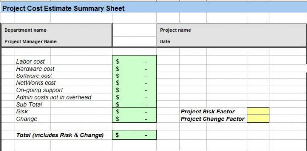 Project Cost Estimating Template Excel Spreadsheet