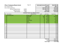 project cost template excel download