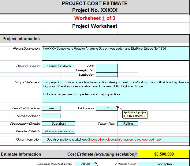 project estimating budget example template
