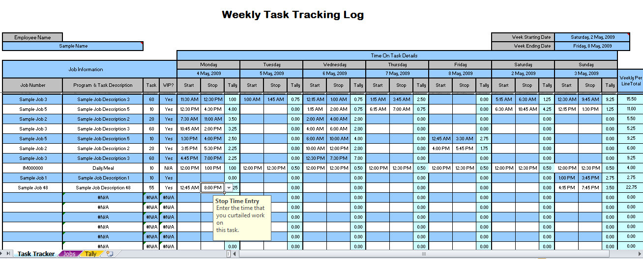 project weekly time tracking spreadsheet