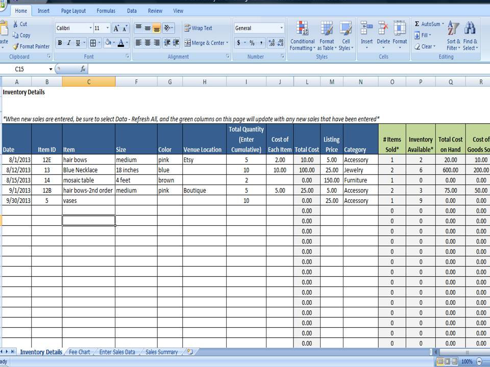 purchase and sales entry in excel fee tracking